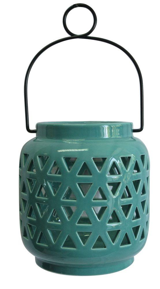 Hampton Bay 6.5-inch Ceramic Lantern in Haze