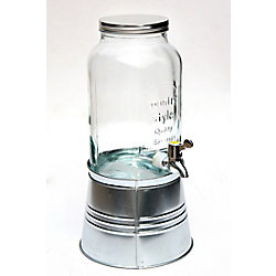 Hampton Bay Glass beverage dispenser with metal base