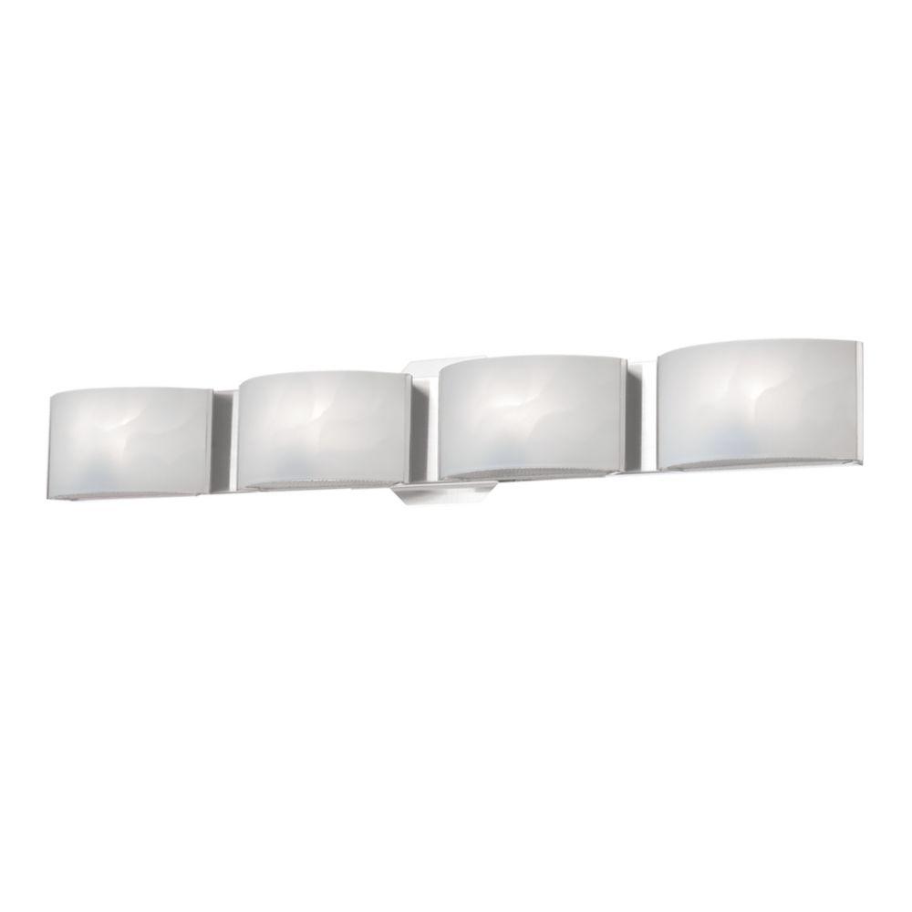 Collection Dakota, barre déclairage de salle de bains chrome à 4ampoules DEL