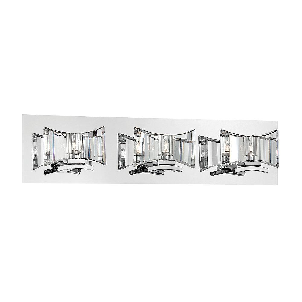 Collection Uzo, barre déclairage de salle de bains chrome et transparente à 3ampoules