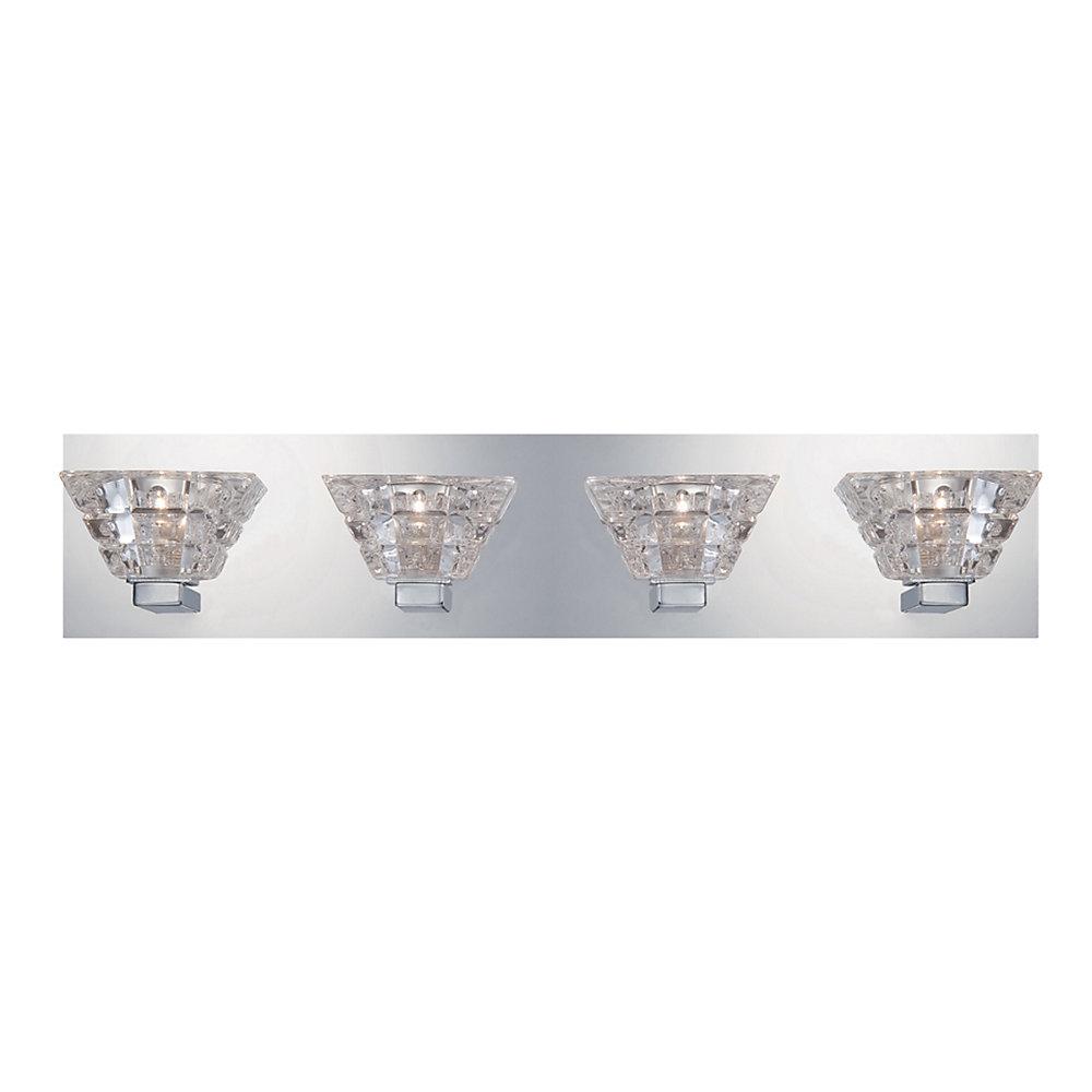Collection Zilli, barre déclairage de salle de bains chrome à 4ampoules