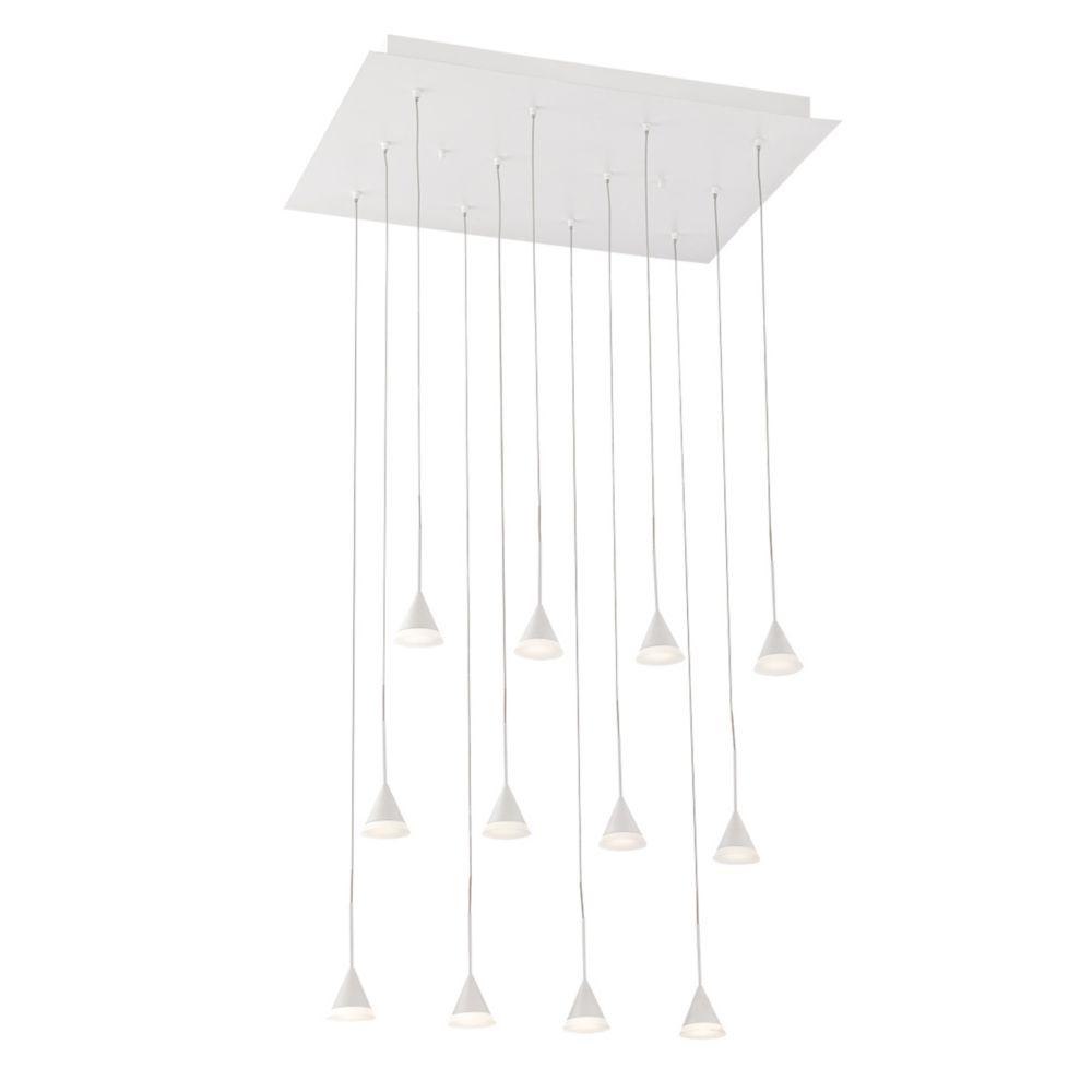 Collection Albion, lustre blanc à 12ampoules DEL