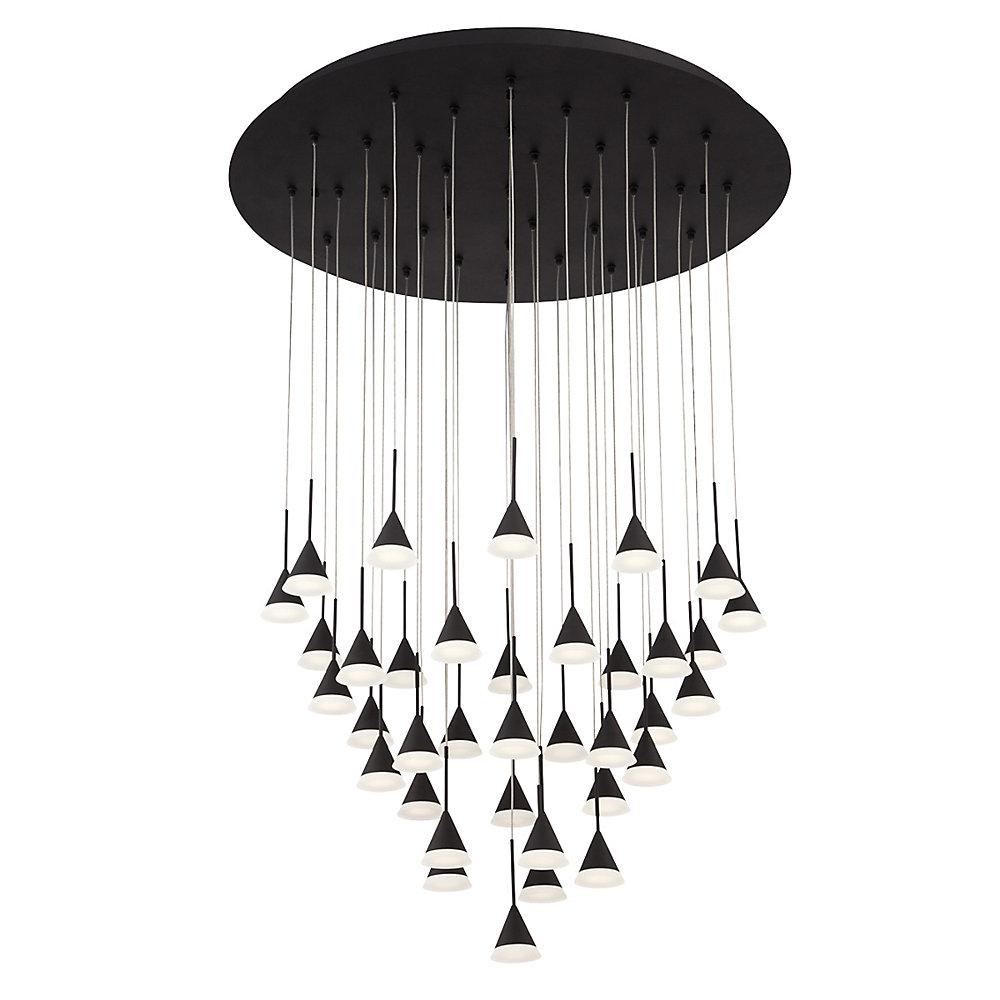 Collection Albion, lustre noir à 36ampoules DEL