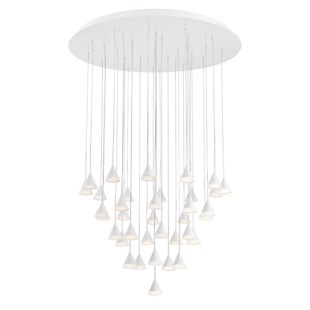 Collection Albion, lustre blanc à 36ampoules DEL