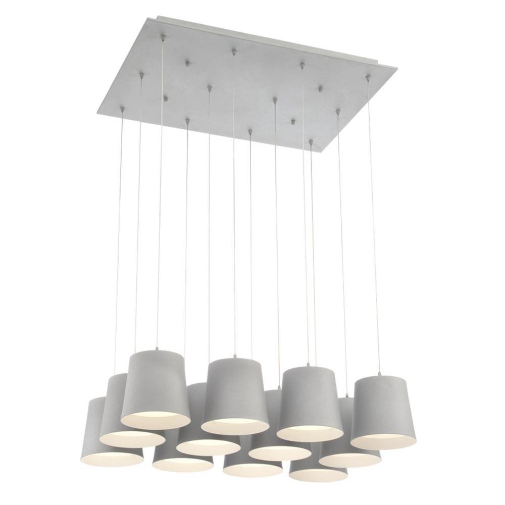 Borto Collection, 12-Light LED Grey Chandelier