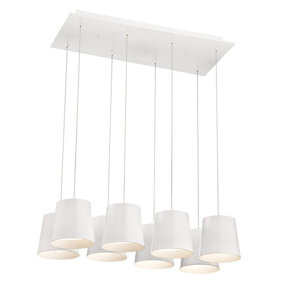 Borto Collection, 8-Light LED White Chandelier
