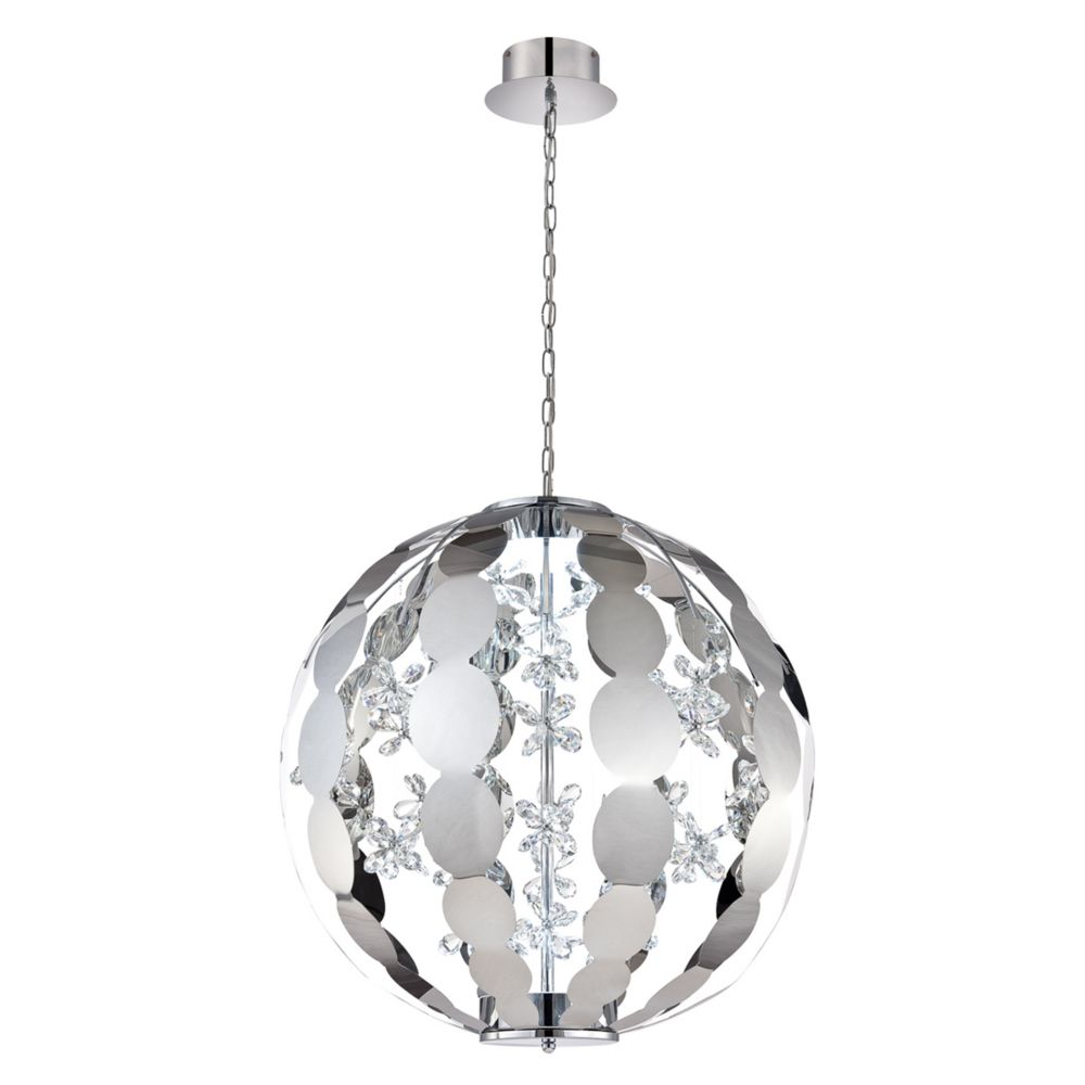 World Collection, 2-Light Large LED Chrome Chandelier