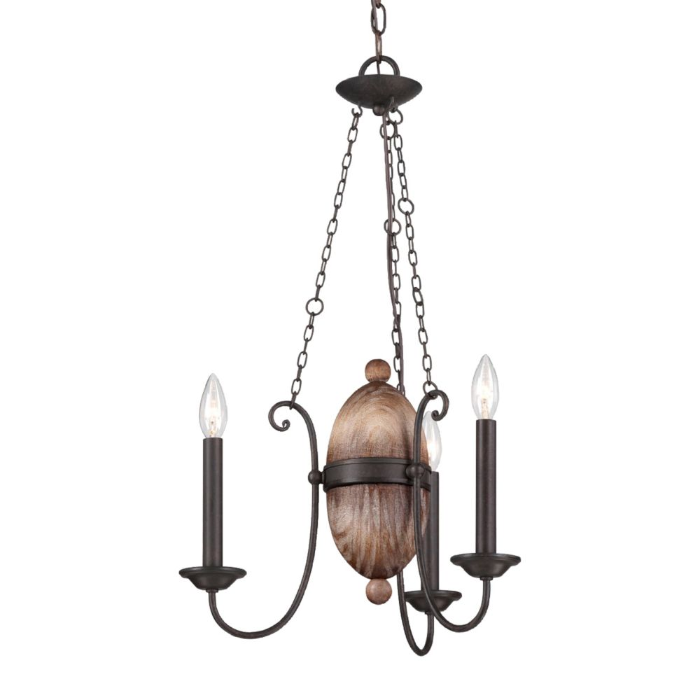 Albero Collection, 3-Light Forged Iron Chandelier