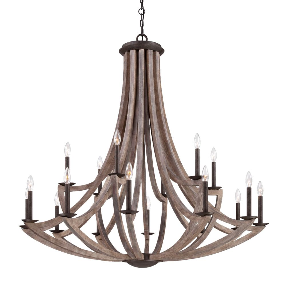 Arcata Collection, 18-Light Wood Chandelier