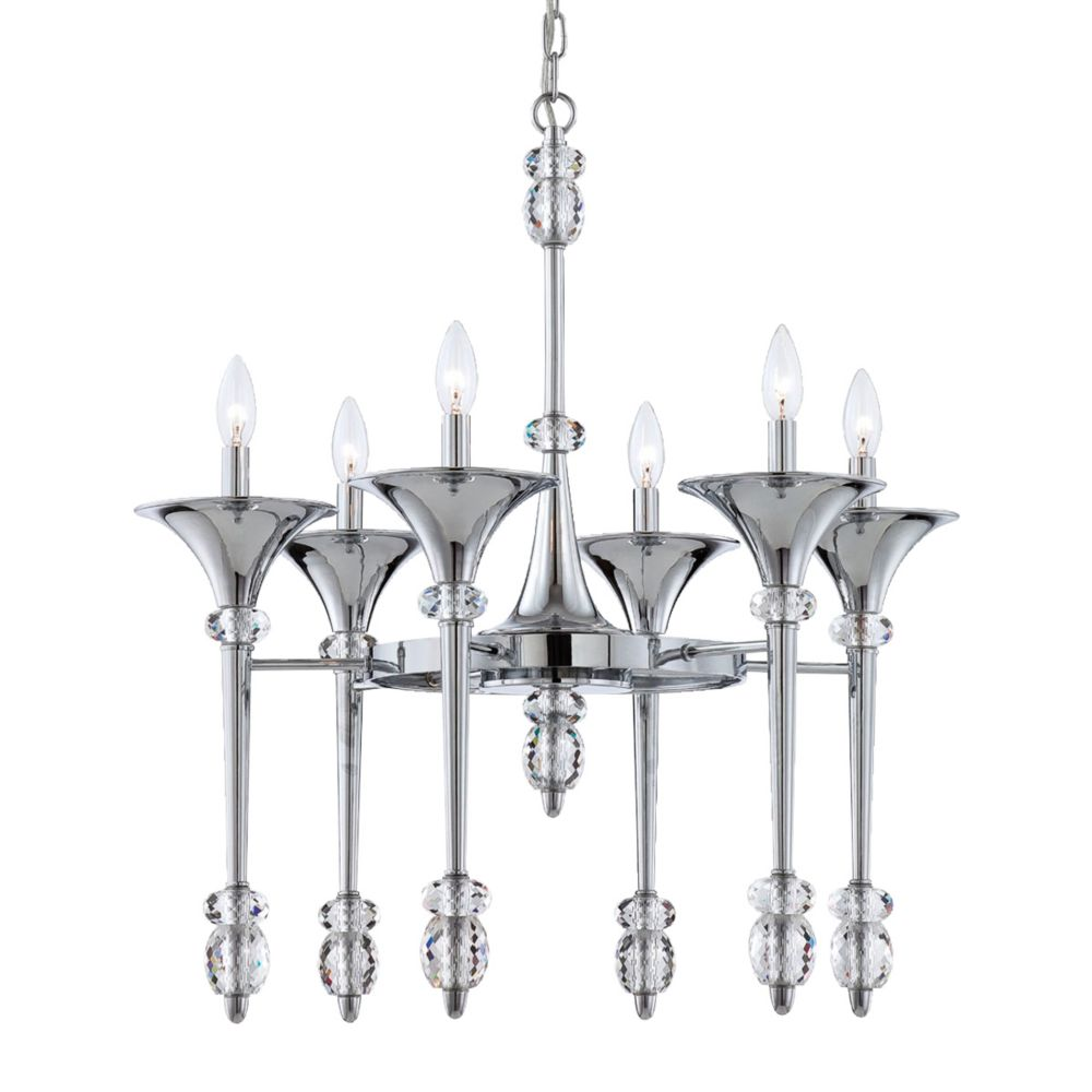 Cannello Collection, 6-Light Chrome Chandelier