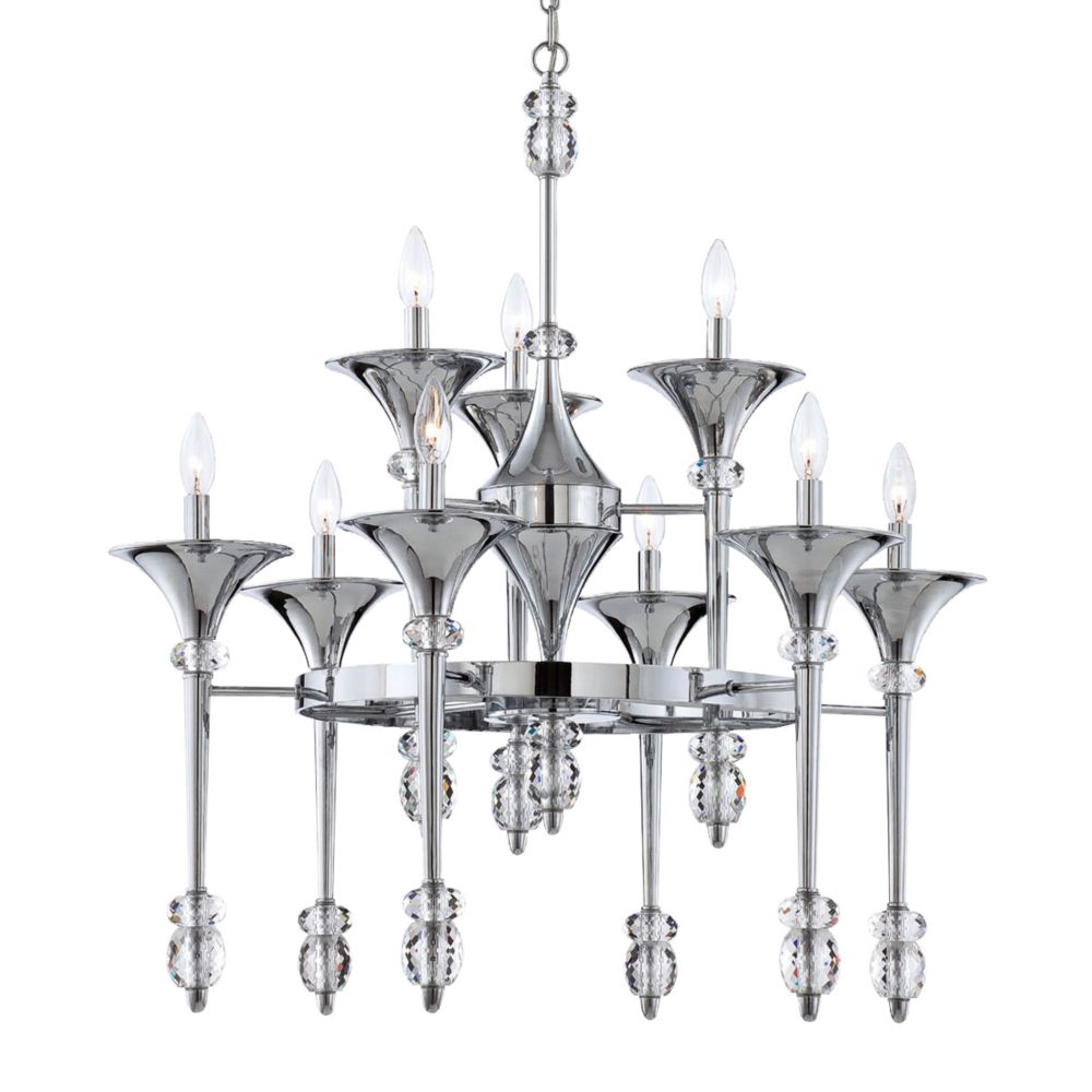 Cannello Collection, 9-Light Chrome Chandelier