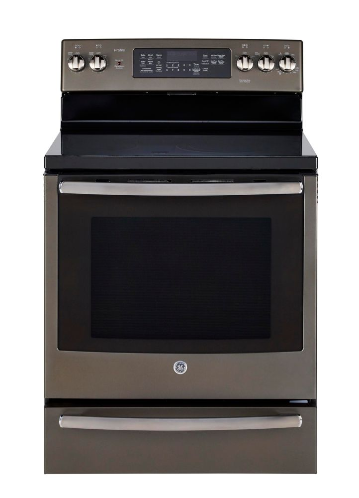 GE Profile 30-inch 6.2 cu. ft. Single Oven Electric Range with Self-Cleaning Convection Oven in Slate