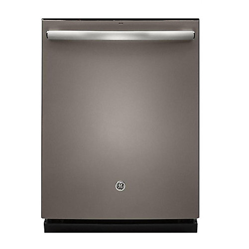 """24"""" Top Control Built-in Tall Tub Dishwasher in Slate with Stainless Steel Tub and Steam Cleaning"""