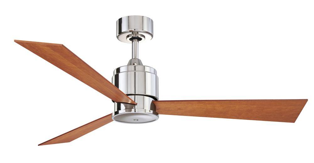Zonix 54 inch 3-Walunt Blade Indoor Polished Nickel Ceiling Fan