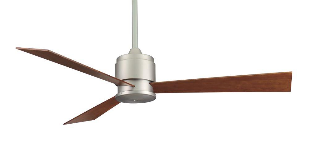 Zonix 54 inch 3-Walunt Blade Indoor Satin-Nickel Brown Ceiling Fan
