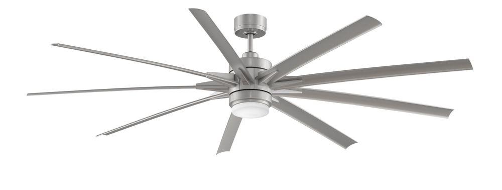 Odyn 84 inch 9-Wood Blade LED Indoor/Outdoor Brushed Nickel Ceiling Fan