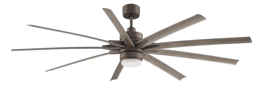 Odyn 84 inch 9-Wood Blade LED Indoor/Outdoor Matte Greige Ceiling Fan