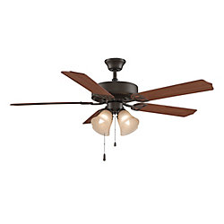 FANIMATION Aire Décor 4-Light 52 inch 5- Wood Blades Indoor Oil-Rubbed Bronze Ceiling Fan