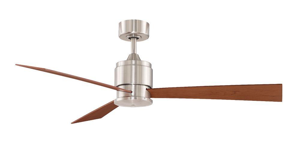 Zonix 54 inch 3-Walunt Blade Indoor Brushed Nickel Ceiling Fan