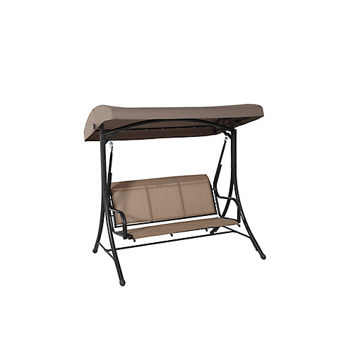 3-Person Steel Patio Sling Swing with Poly Canopy