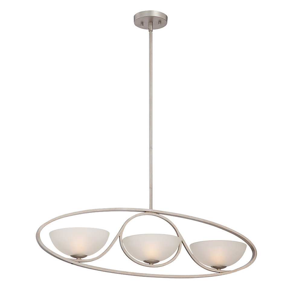 Carlucci Collection, 3-Light Linear Silver Chandelier