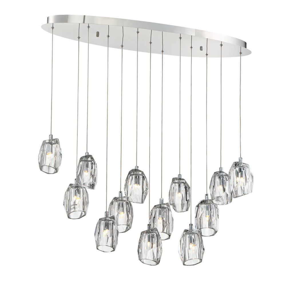 Collection Diffi, lustre chrome à 13 ampoules
