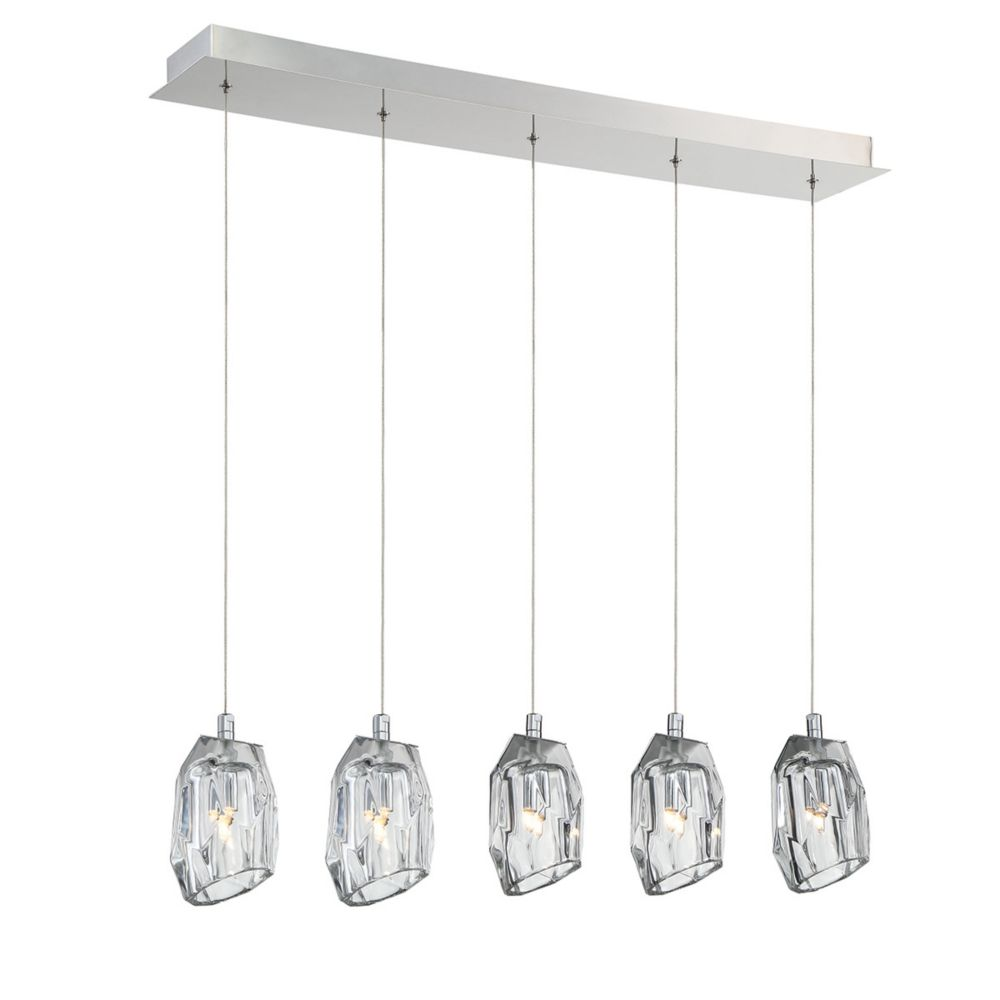 Collection Diffi, lustre chrome à 5 ampoules
