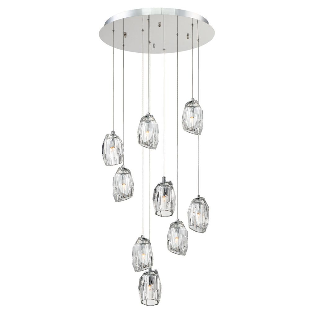 Eurofase Diffi Collection, 9-Light Chrome Chandelier