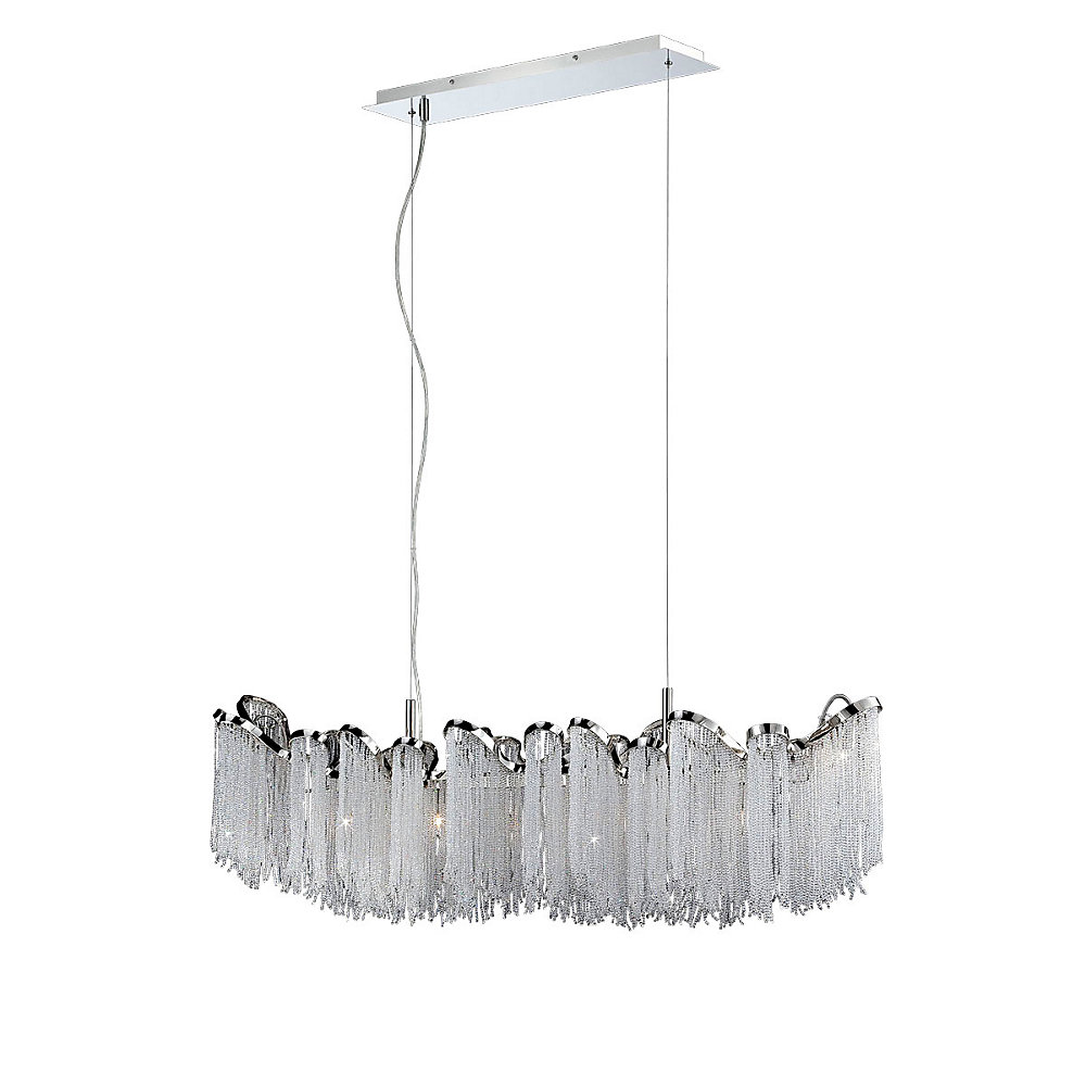 Ellena Collection 7-Light Chandelier in Nickel
