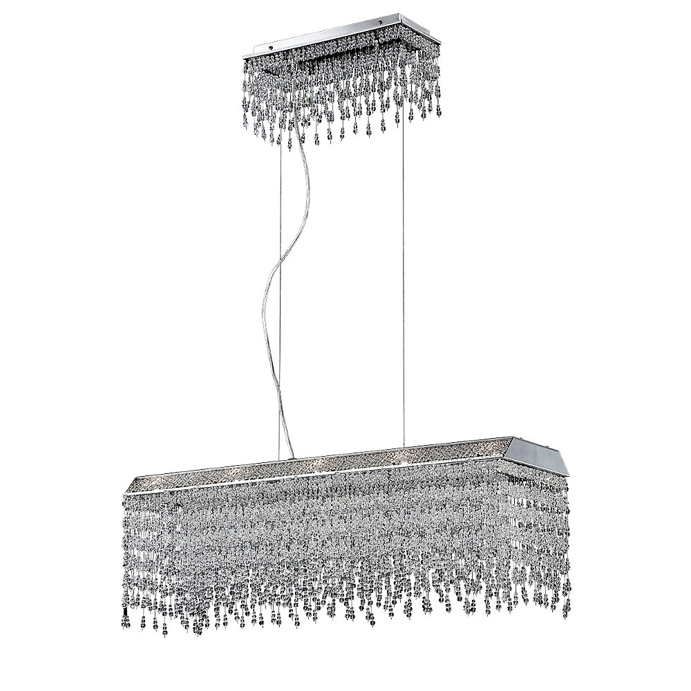 Fonte Collection, 10-Light Chrome and Clear Rectangular Chandelier