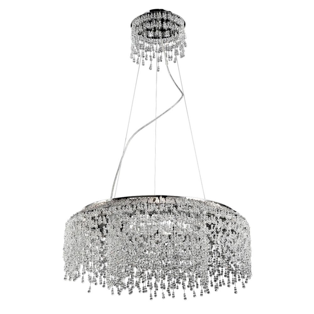 Eurofase Fonte Collection, 8-Light Chrome and Clear Round Chandelier