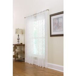 HDC Boucle Sheer Rod Pocket Lace Curtain 50 inches width X 95 inches length, White