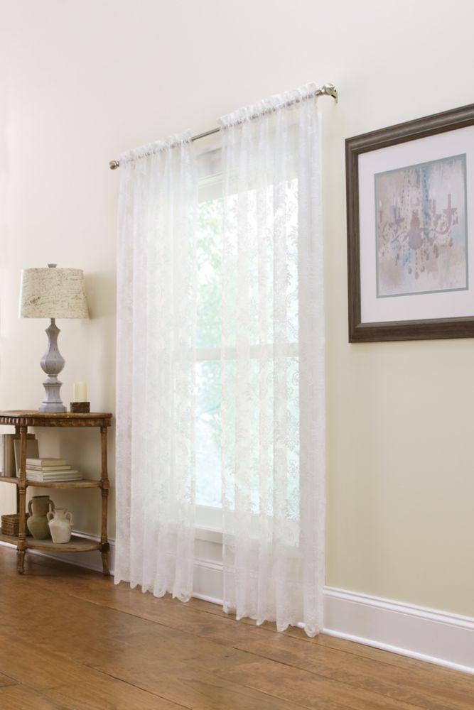 Panneau de draperie à ourlet passe-tringle, blanc, 50 x 108