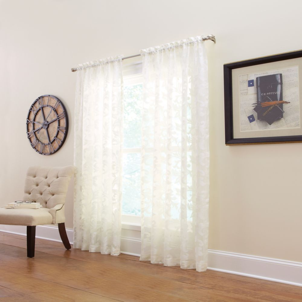 Panneau de draperie à ourlet passe-tringle, blanc, 50 x 95