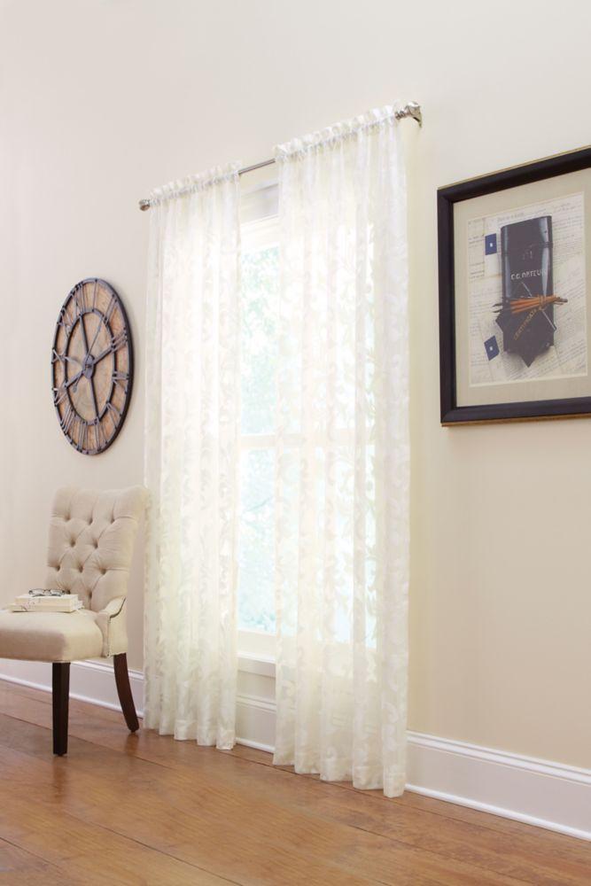 Panneau de draperie à ourlet passe-tringle, coquille, 50 x 108