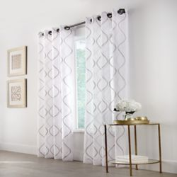 HDC Hourglass Light Filtering Grommet Curtain 50 inches width X 108 inches length, White