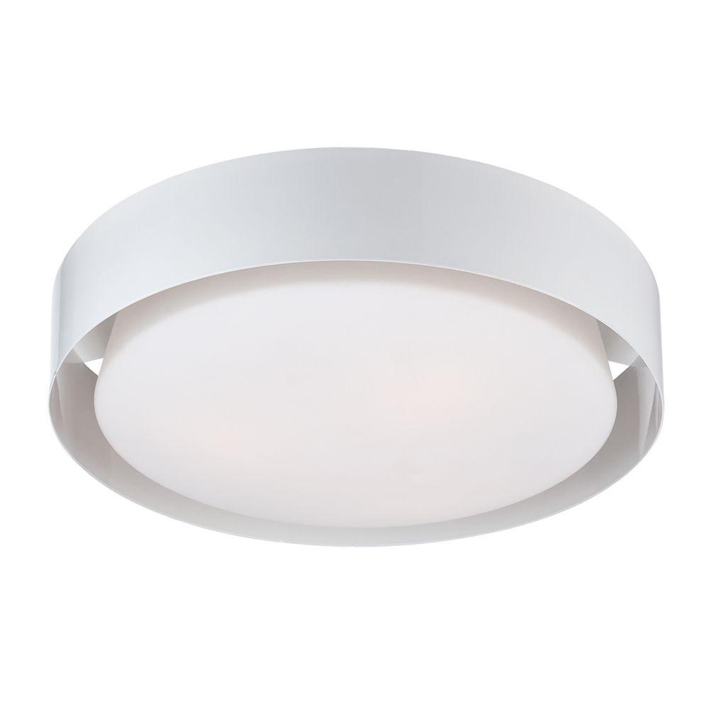 Collection Saturn, plafonnier blanc à 1ampoule DEL