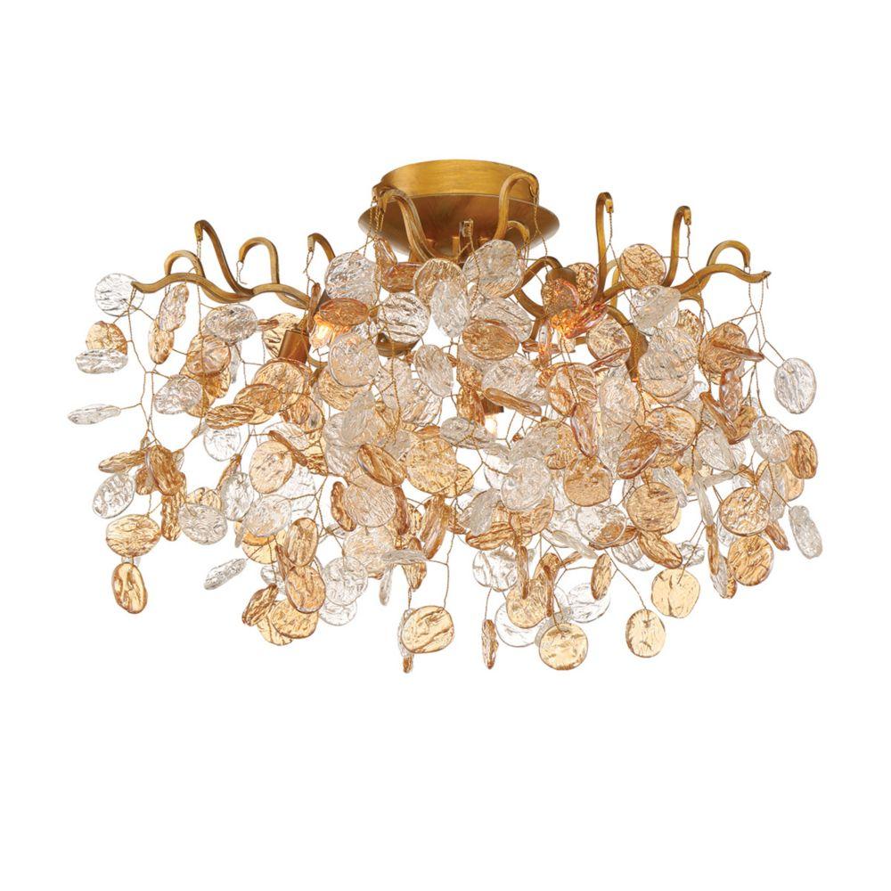 Collection Campobasso, semi-plafonnier doré à 5ampoules