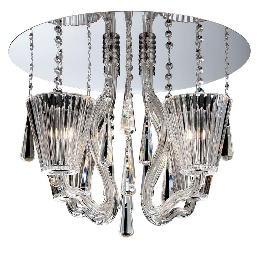 Collection Corato, plafonnier chrome et transparent à 4ampoules