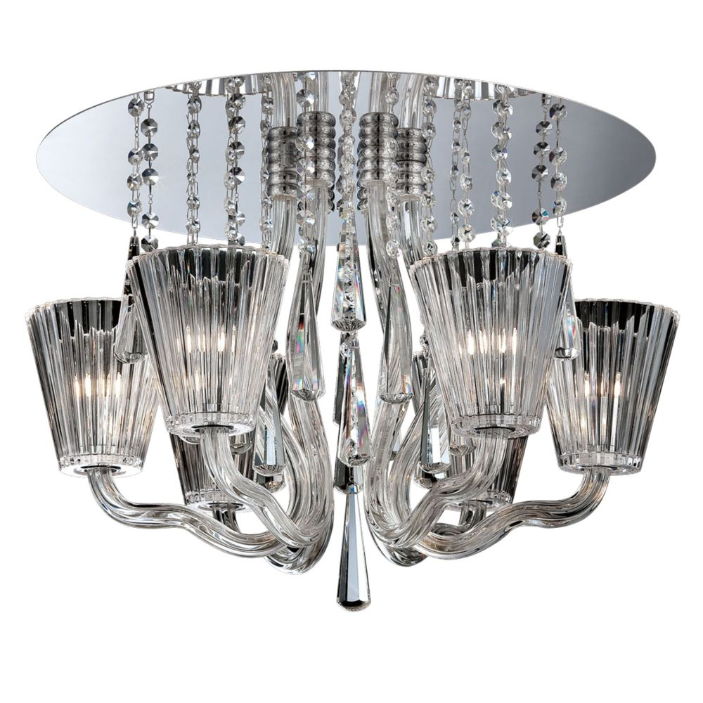 Corato Collection, 6-Light Chrome and Clear Flushmount