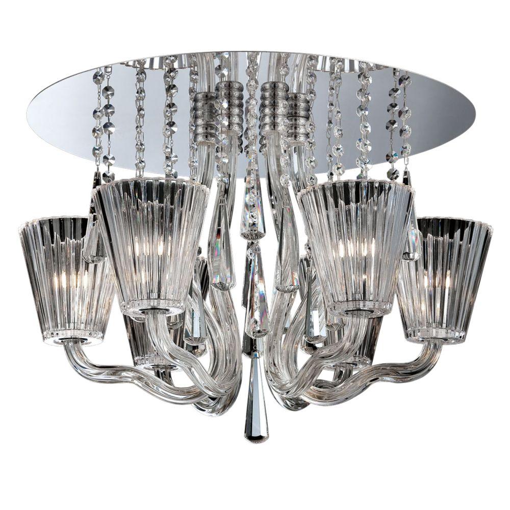 Collection Corato, plafonnier chrome et transparent à 6ampoules