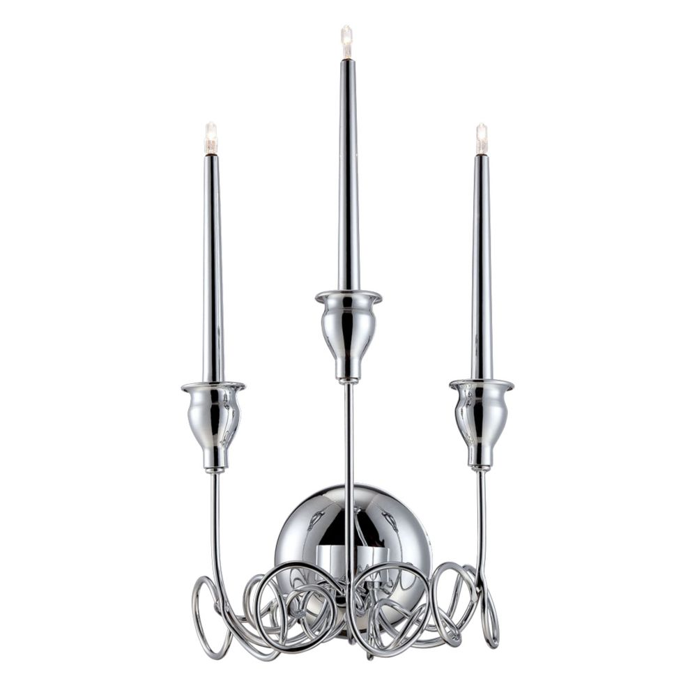 Candela Collection, 3-Light Chrome Wall Sconce