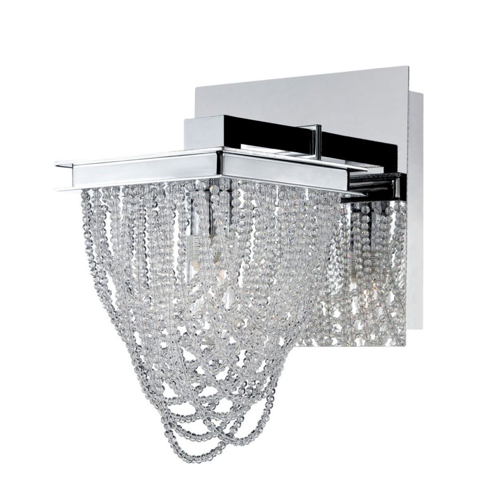 Rio Collection, 1-Light Chrome and Clear Wall Sconce