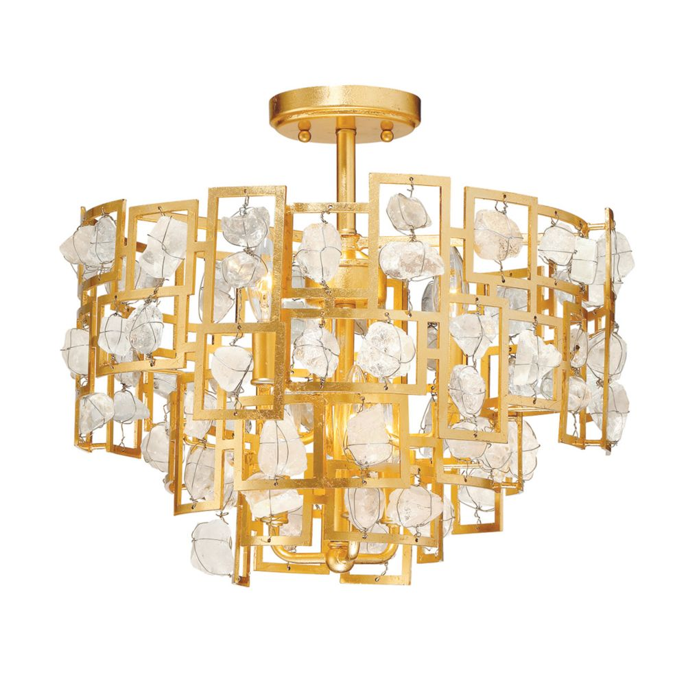 Elrose Collection, 6-Light Gold Semi-Flushmount