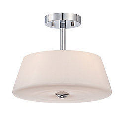 Enza Collection, 3-Light Chrome Semi-Flushmount