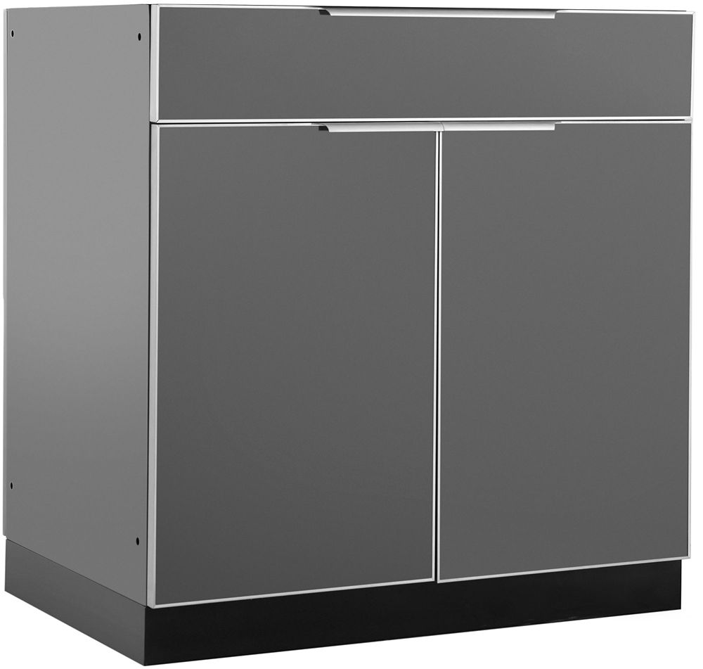 NewAge Products Outdoor Kitchen 32W X 23In D   Bar Cabinet Aluminum Slate
