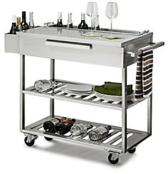 Drag Image To Explore Stainless Steel Outdoor Kitchen Bar Cart In Slate