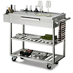 Stainless Steel Outdoor Kitchen Bar Cart in Slate