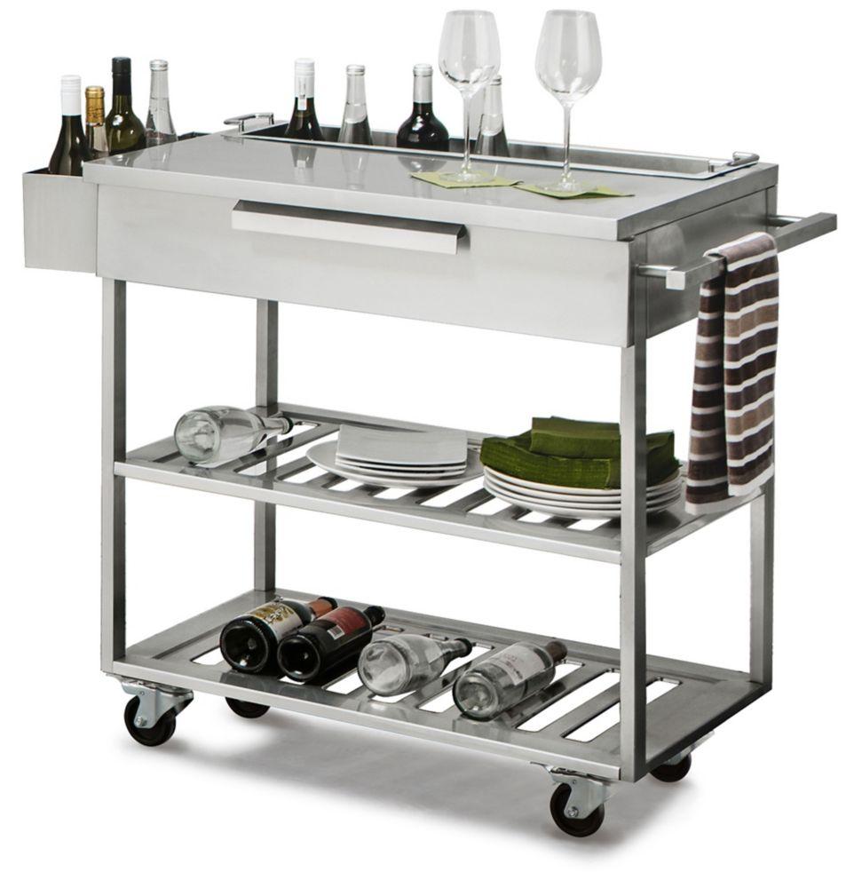 Outdoor Kitchen  Bar Cart Stainless Steel Slate