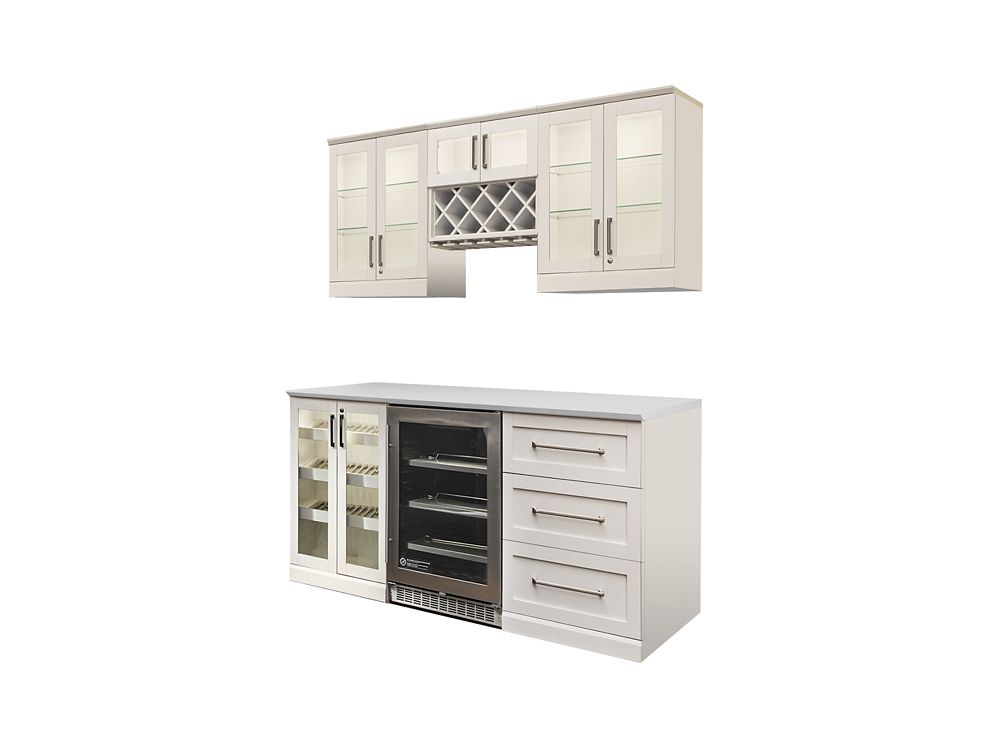 NewAge Products Home Bar 72  Inch W x 24  Inch D 7 PC White Shaker Style
